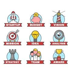 Set of startup flat line design vector image