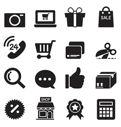 Silhouette shopping online icons set vector