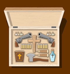Weapons vampire hunter Tools against undead in vector image