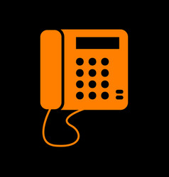 communication or phone sign orange icon on black vector image