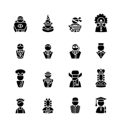 Sixteen human black silhouettes isolated on white vector