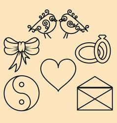 set valentines day design elements of the outline vector image