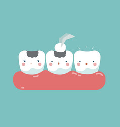 Filling tooth teeth and tooth concept of dental vector