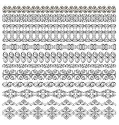 Set of symmetrical black pattern border plant vector