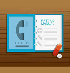 First aid manual with pill and drug vector