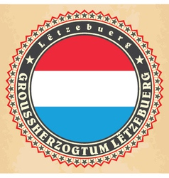 Vintage label cards of luxemburg flag vector