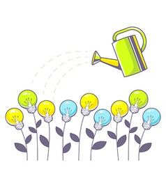 Growing color lightbulbs and green wateri vector