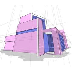 Sketch house colors vector