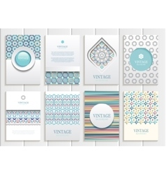 Stock set of brochures in vintage style vector