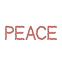 Word peace made from hearts vector