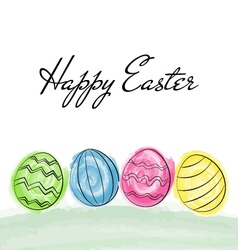 Happy easter greetings card with colorful eggs vector