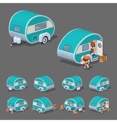 Low poly turquoise retro trailer house vector