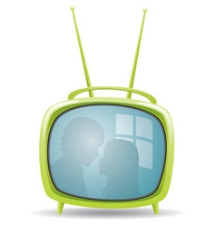 Green retro tv set vector