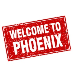 Phoenix red square grunge welcome to stamp vector