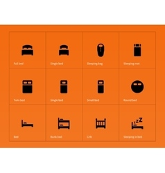 Bed crib and sleeping bed icons on orange vector