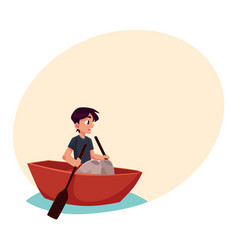 Boy swimming in little boat kayak summer vector