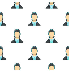 Call center operator pattern flat vector