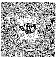 Cartoon hand-drawn doodles musical vector