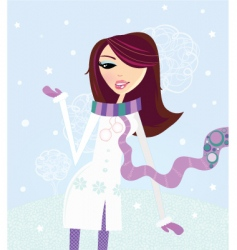 christmas winter woman on snow vector image vector image