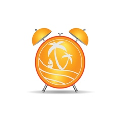 Clock with travel icon vector