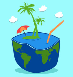 coconut island drink background vector image