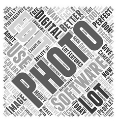 digital photography software Word Cloud Concept vector image