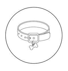 dog collar icon in outline style isolated on white vector image vector image