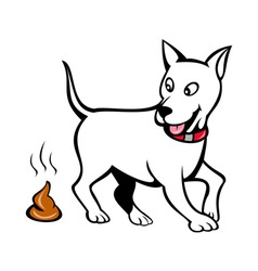 Dog with poo vector