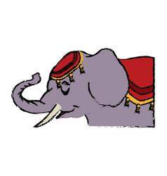 Elephant circus entertainment balance icon vector