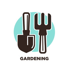 Gardening instruments spade and pitchfork isolated vector