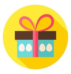 Gift Box with Easter Eggs Circle Icon vector image vector image