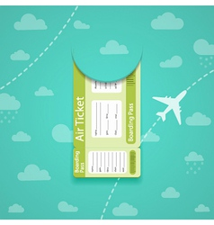 Green air ticket on sky background vector image