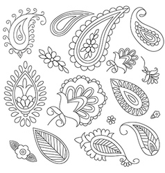 hand-drawn elements of ethnic paisley vector image vector image
