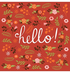 Hello card design vector image vector image