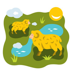 Herd of sheep on a meadow flat style vector