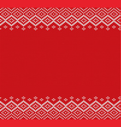 holiday knitted geometric ornament with empty vector image vector image