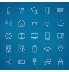 Internet of things Line Icons Set over Blurred vector image