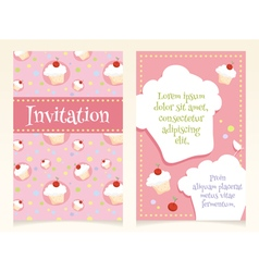 Invitation design with cupcakes vector image