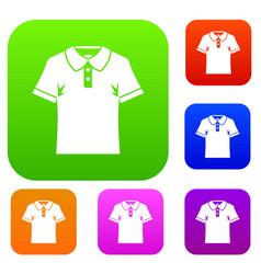 men polo shirt set color collection vector image