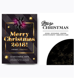 merry christmas 2018 stylish black greeting card vector image vector image