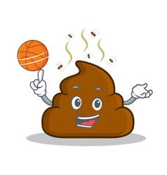 Playing basketball poop emoticon character cartoon vector