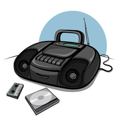 portable tape recorder with cd player vector image