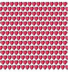 red gemstone heart background pattern on white vector image vector image