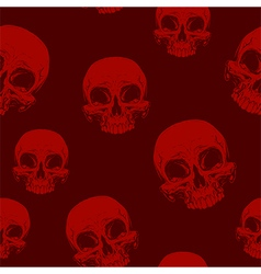 Seamless horror red skull tattoo pattern vector