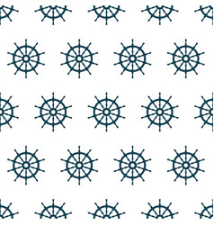 seamless pattern with steering wheel of ship vector image vector image