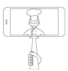 Selfie with chef in style monoline vector