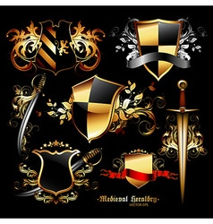 set of medieval elements vector image vector image
