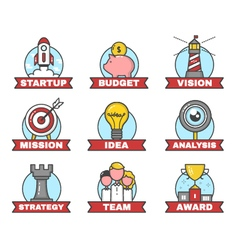Set of startup flat line design vector image