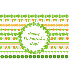 st patrick s day border garland with clover vector image
