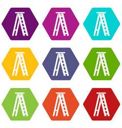 Stepladder icon set color hexahedron vector